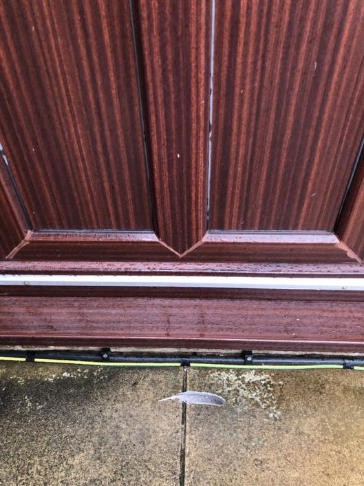 Feather on doorstep
